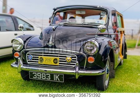 Bray, Ireland, June 2018 Bray Vintage Car Club Show, Open Air Retro Cars Display. Front View On Blac