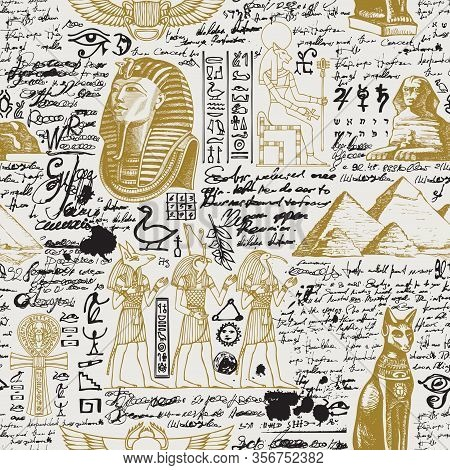 Vector Seamless Pattern On The Ancient Egypt Theme With Unreadable Notes, Hieroglyphs And Sketches I