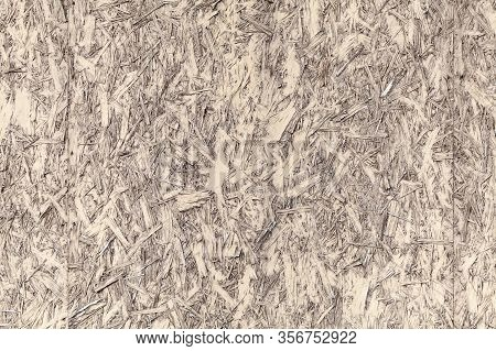 Yellow Painted Oriented Strand Board Or Osb. Frontal View, Flat Background Photo Texture