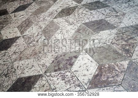 Old Floor Tiling With Abstract Cubic Pattern, Background Texture