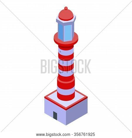 Lighthouse Guide Icon. Isometric Of Lighthouse Guide Vector Icon For Web Design Isolated On White Ba