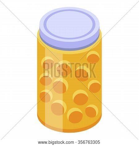 Physalis Jam Jar Icon. Isometric Of Physalis Jam Jar Vector Icon For Web Design Isolated On White Ba
