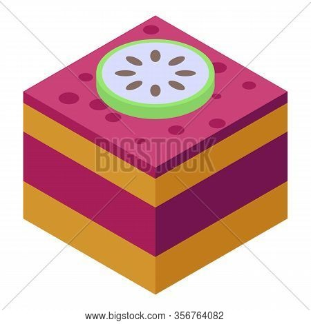 Soursop On Cake Icon. Isometric Of Soursop On Cake Vector Icon For Web Design Isolated On White Back