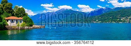 Idyllic nature scenery - scenic lake Lago Maggiore . Beautiful nature of Northern Italy, Lombardia
