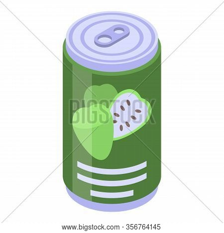 Soursop Soda Drink Icon. Isometric Of Soursop Soda Drink Vector Icon For Web Design Isolated On Whit