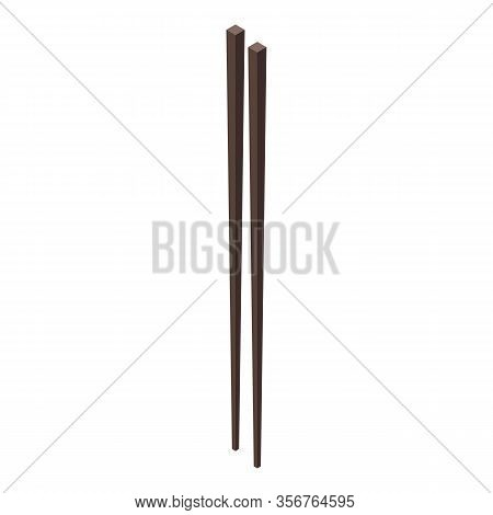 Japanese Chopsticks Icon. Isometric Of Japanese Chopsticks Vector Icon For Web Design Isolated On Wh