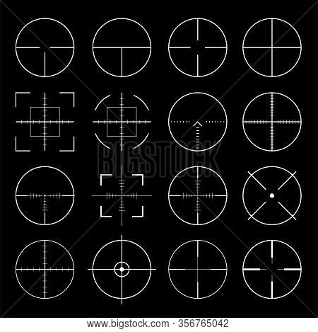 Pack Of Sniper Rifle Aims Isolated. Crosshairs Target Choose Destination Icons. Aim Shoot Focus Curs