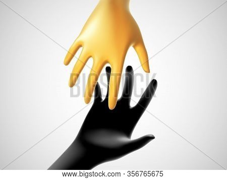 Two 3d Hands Taking Each Other On White Background. Concept Of Help, Charity, Business Assistance An