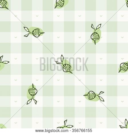 Hand Drawn Whimsical Beetroot Gingham Seamless Pattern. Vector Vintage Check Retro Vegetable Backgro