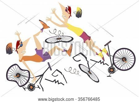 Road Accident, Two Cyclists And Broken Bikes Illustration. Broken Bikes And Two Falling Cyclists Iso