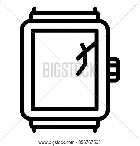 Crack Glass Smartwatch Icon. Outline Crack Glass Smartwatch Vector Icon For Web Design Isolated On W