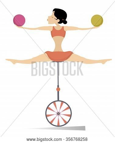 Equilibrist Woman Balances On The Unicycle With The Balls Illustration. Equilibrist Young Woman Hold