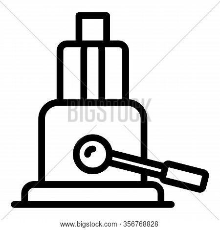Hydraulic Jack Icon. Outline Hydraulic Jack Vector Icon For Web Design Isolated On White Background