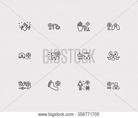 Medicine Icons Set. Cardiology And Medicine Icons With Toxicology, Surgery And Addiction Medicine. S