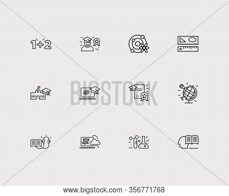 Online Learning Icons Set. Geography And Online Learning Icons With Distance Leaning, Astrophysics A
