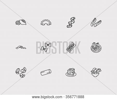 Cuisine Icons Set. Pipette Rigatte And Cuisine Icons With Farfalle Pasta Shape, Conchiglie Pasta Sha