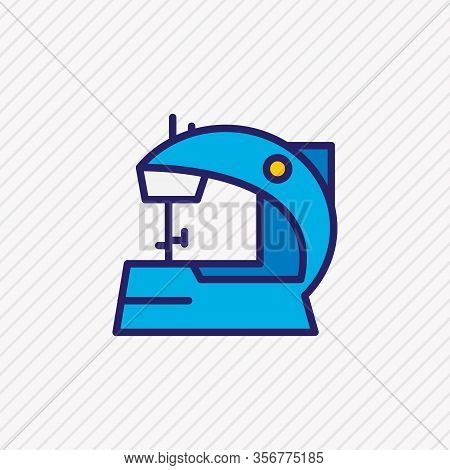 Vector Illustration Of Electric Sewing Machine Icon Colored Line. Beautiful Appliance Element Also C