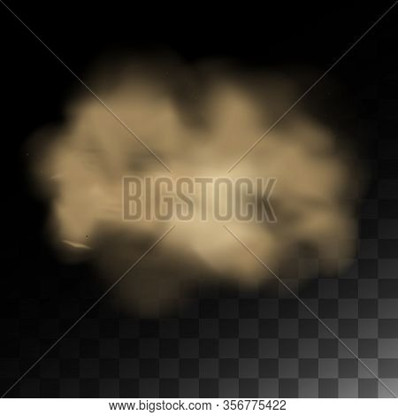 Cloud Of Dust, Sand Tornado With Dirt, Smell Smog, Dust Cloud With Particles. Realistic Vector Isola