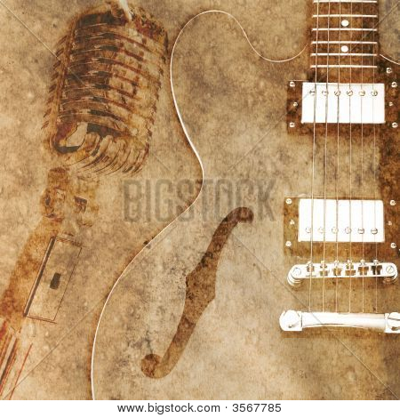 A vintage blues style guitar on an aged paper background poster