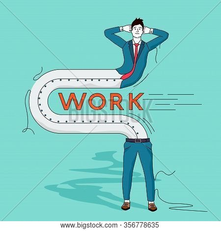 A Businessman Bending To Avoid Doing Any Work. Work Shy People Concept Vector Illustration.