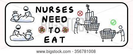 Dont Panic Buy Stockpile. Nurses Need To Eat. Corona Virus Covid 19 Stickman Shopping Cart Infograph