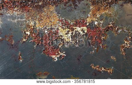 Rust On Metal Texture, Pattern. Eaten Away With Rust. Ferric Oxide. Environmental Collapse. Land Of