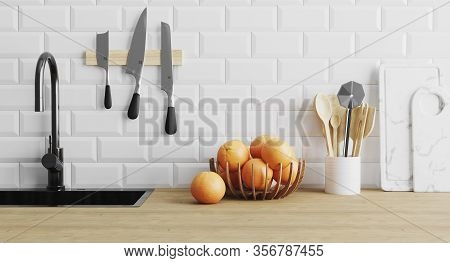 Kitchen Utensils Gadgets Near Sink On Wooden Surface And White Tiled Wall, Kitchenware In Kitchen Co