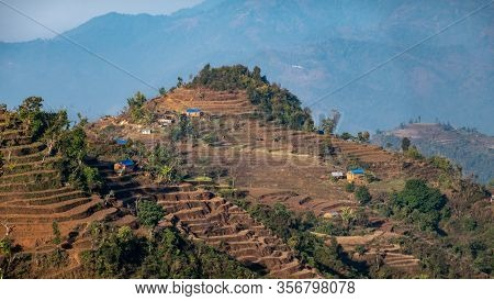 Houses Built On The Top Of The Hills Of The Himalayan Foothills