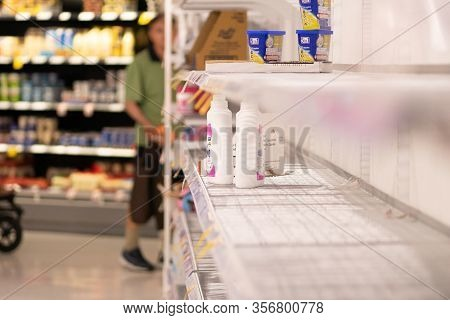 Close Up Powdered Detergents Are Out Of Stock, Shortage Of Stock In Coles Supermarket , Covid 19 Sto