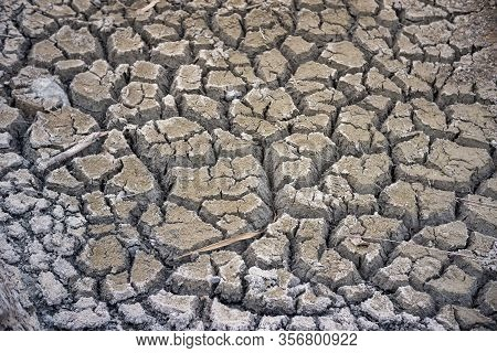 Cracked Soil In The Summer With The Sun