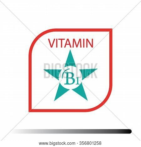 Vitamin B1. Medicine Health Symbol Of Thiamin. Natural Chemical B1 Vitamin