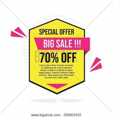 70% Sale Tag Vector Badge Template, 70% Sale Label Collection, Clearance Sale Sticker Emblem, Bargai
