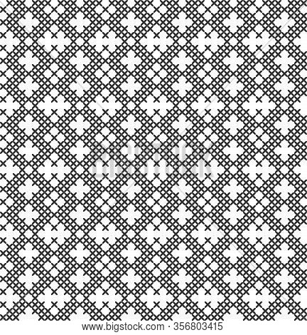 Imitation Of Cross Stitch. Seamless Geometric Pattern. Background For Cover, Textile, Wrapping Paper