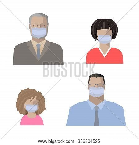 People In Protective Medical Antimicrobial Masks, Elderly Man, Young Man, Woman And Girl. Color Flat