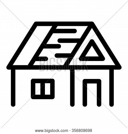 House With An Unfinished Roof Icon. Outline House With An Unfinished Roof Vector Icon For Web Design