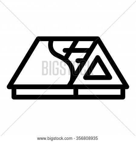 Roof Sectional View Icon. Outline Roof Sectional View Vector Icon For Web Design Isolated On White B