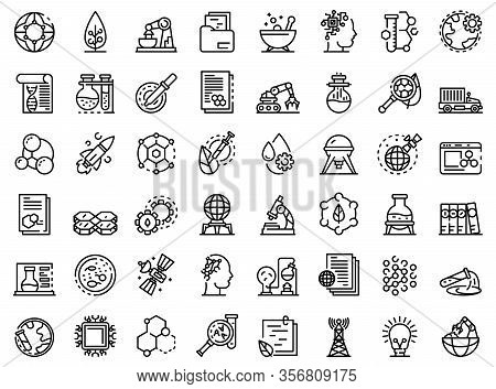 Nanotechnology Icons Set. Outline Set Of Nanotechnology Vector Icons For Web Design Isolated On Whit