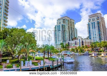 Fort Lauderdale - December 1, 2019: Cityscape Of Ft. Lauderdale, Florida Showing The Beach And The C