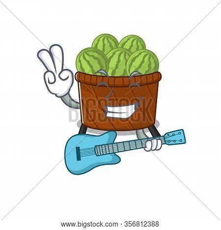 Supper Cool Watermelon Fruit Basket Cartoon Playing A Guitar