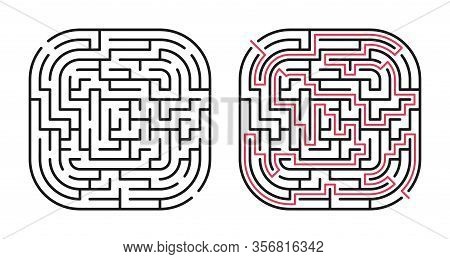 Abstract Maze / Labyrinth With Entry And Exit. Vector Labyrinth 284.
