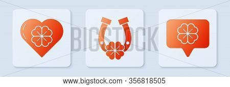 Set Horseshoe With Four Leaf Clover, Heart With Four Leaf Clover And Four Leaf Clover In Speech Bubb