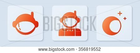 Set Astronaut, Astronaut Helmet And Moon And Stars. White Square Button. Vector