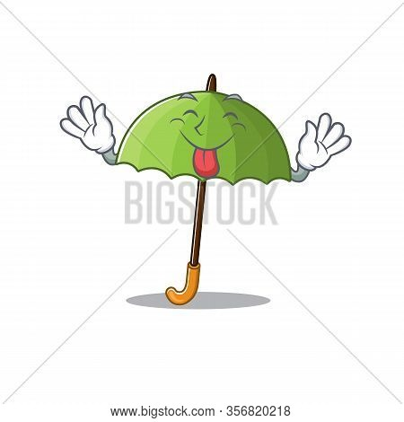 Funny Face Green Umbrella Mascot Design Style With Tongue Out