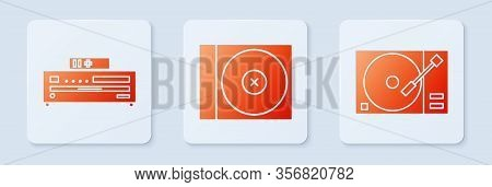 Set Cd Or Dvd Disk, Music Cd Player And Vinyl Player With A Vinyl Disk. White Square Button. Vector