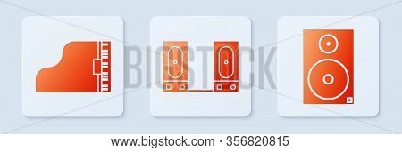 Set Stereo Speaker, Grand Piano And Stereo Speaker. White Square Button. Vector