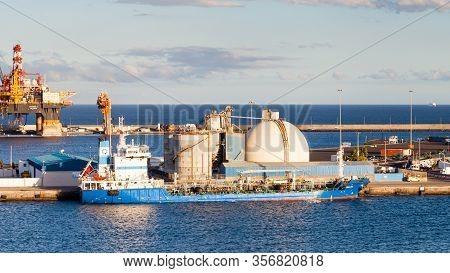 Las Palmas De Gran Canaria, Spain - November 4:  Oil Tanker Halki Is Pictured Docked In Port Las Pal