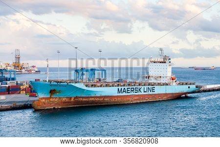 Las Palmas De Gran Canaria, Spain - November 4:  Container Ship Maersk Patras Is Pictured Docked In