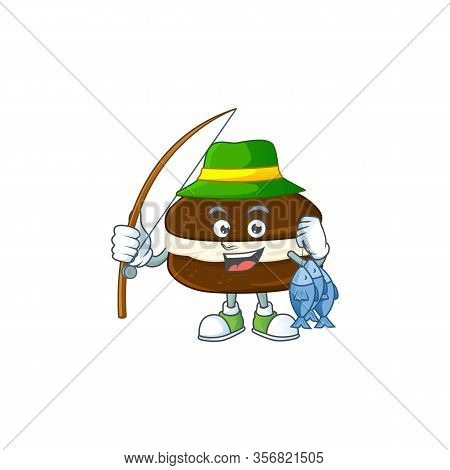 Cartoon Character Of Funny Fishing Whoopie Pies