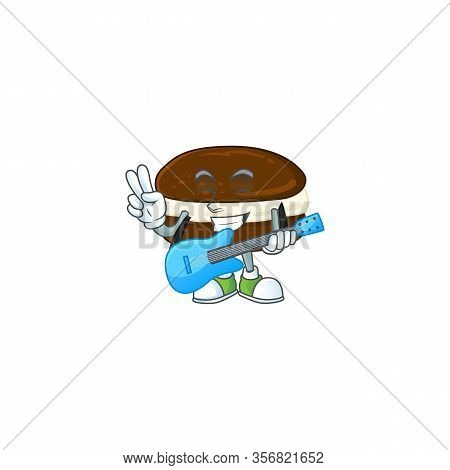 Supper Talented Whoopie Pies Cartoon Design With A Guitar