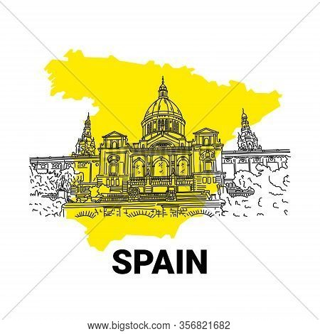 Historic Building On Spain Yellow Map Background. Sunny And Cheerful Spain. Bustling Barcelona, Rich